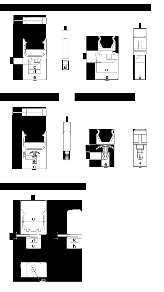 配線フレキシブルチューブ専用固定具 寸法一覧