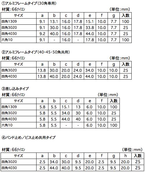 配線フレキシブルチューブ専用固定具 寸法一覧表